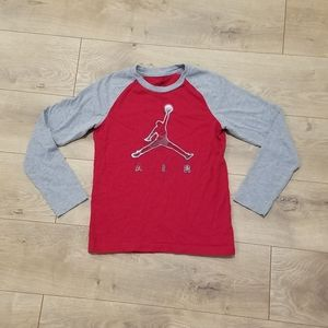 Jordan Air Jumpman Logo Tee Red & Gray {Boy's LG}